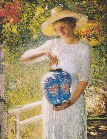 Girl with Lantern 1904 - Helen M Turner reproduction oil painting