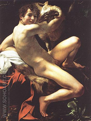Saint John the Baptist c1599 - Caravaggio reproduction oil painting