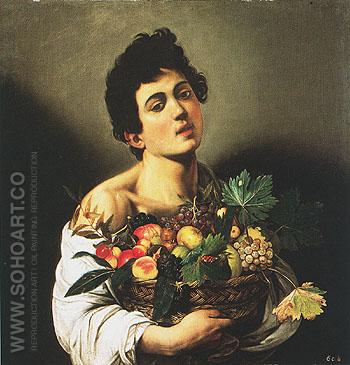 Boy with Basket of Fruit c1593 - Caravaggio reproduction oil painting