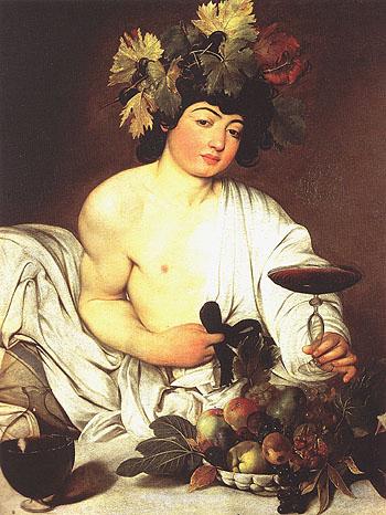 Bacchus c1596 - Caravaggio reproduction oil painting