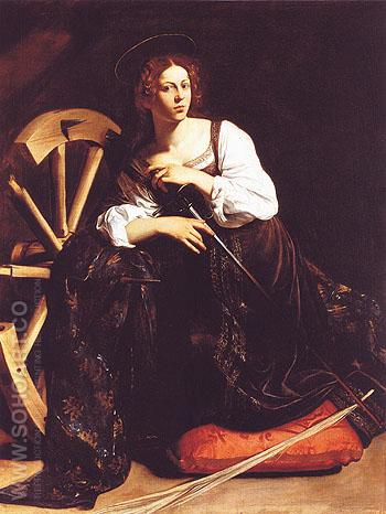 Saint Catherine of Alexandria c1598 - Caravaggio reproduction oil painting