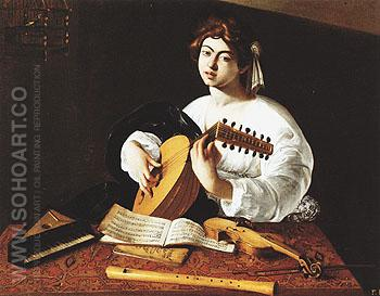 Lute Player c1596 - Caravaggio reproduction oil painting