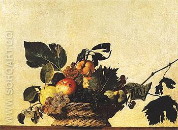 Basket of Fruit c1598 - Caravaggio reproduction oil painting