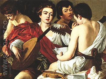 The Musicians c1595 - Caravaggio reproduction oil painting