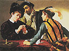 The Cardsharps c1594 - Caravaggio reproduction oil painting
