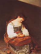 Repentant Magdalene c1596 - Caravaggio reproduction oil painting