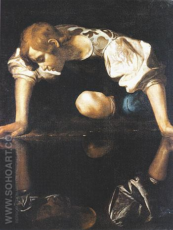 Narcissus c1598 - Caravaggio reproduction oil painting