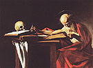 Saint Jerome Writing c1606 - Caravaggio reproduction oil painting