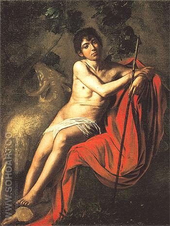 Saint John the Baptist c1609 - Caravaggio reproduction oil painting