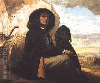 Self Portrait with Black Dog c1842 - Gustave Courbet reproduction oil painting