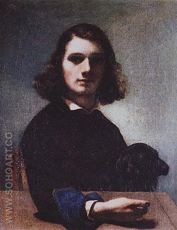 Self Portrait Courbet with Black Dog 1842 - Gustave Courbet reproduction oil painting