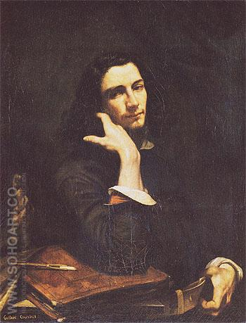 Self Portrait Man with Leather Belt c1845 - Gustave Courbet reproduction oil painting