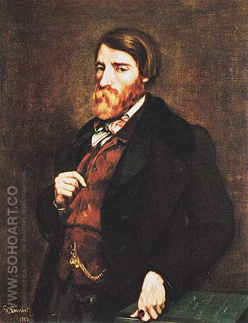 Portrait of Alfred Bruyas 1853 - Gustave Courbet reproduction oil painting
