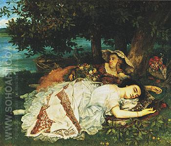 Young Women on the Banks of the Seine 1856 - Gustave Courbet reproduction oil painting