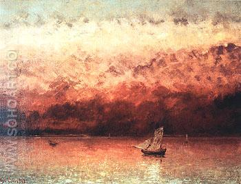 Sunset on Lake Geneva c1876 - Gustave Courbet reproduction oil painting