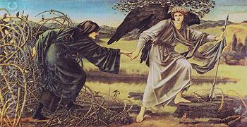Romaunt of the Rose Love Leading the Pilgrim - Edward Burne-Jones reproduction oil painting