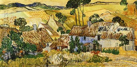 Thatched Houses against a Hill 1890 - Vincent van Gogh reproduction oil painting