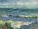 Seascape at Saintes Maries Arles early June 1888 - Vincent van Gogh reproduction oil painting