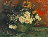 Bowl with Sunflowers Roses and Other Flowers 1886 - Vincent van Gogh reproduction oil painting