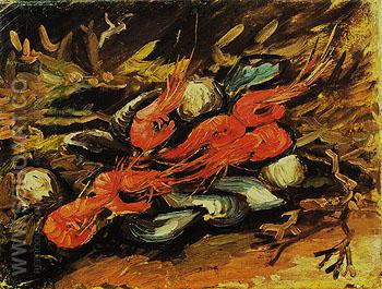 Still Life with Mussels and Shrimps 1886 - Vincent van Gogh reproduction oil painting