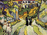 Village Street and Steps in Auvers 1890 - Vincent van Gogh reproduction oil painting