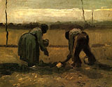 Peasant Man and Woman Planting Potatoes Nuenen 1885 - Vincent van Gogh reproduction oil painting
