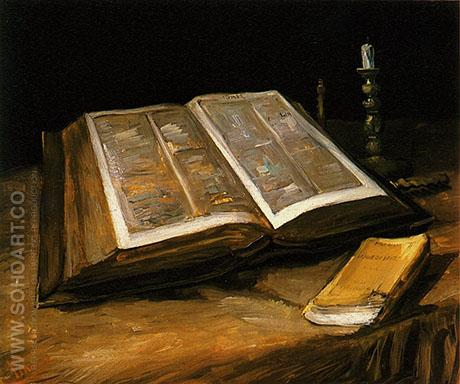Still Life with Open Bible 1885 - Vincent van Gogh reproduction oil painting