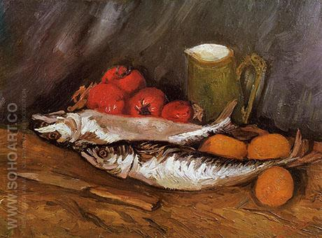 Still Life with Mackerels Lemons and Tomatoes 1886 - Vincent van Gogh reproduction oil painting