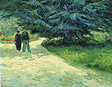 Park with a Couple and a Blue Fir Tree 1888 - Vincent van Gogh reproduction oil painting