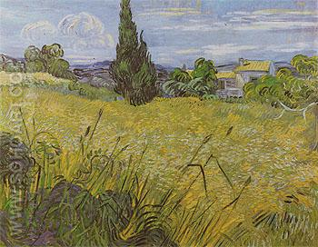 Green Wheat Field with Cypress Saint Remy June 1889 - Vincent van Gogh reproduction oil painting