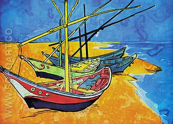 Boats at Les Saintes Maries 1888 - Vincent van Gogh reproduction oil painting