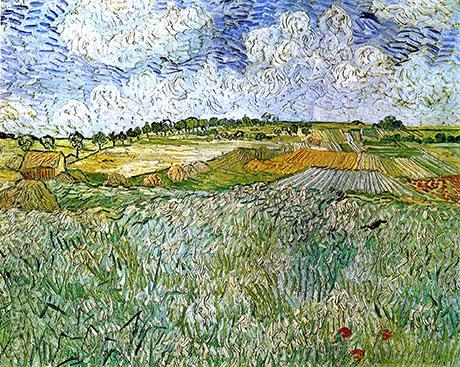 Plain near Auvers Wheatfields 1890 - Vincent van Gogh reproduction oil painting