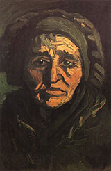 Head of a Peasant Woman in a Greenish Bonnet 1885 - Vincent van Gogh reproduction oil painting
