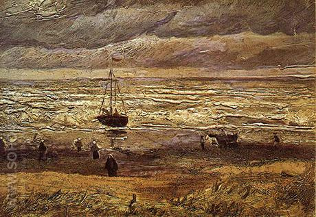 Scheveningen Beach in Stormy Weather August 1882 - Vincent van Gogh reproduction oil painting