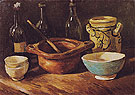Still Life with Earthenware and Bottles 1885 - Vincent van Gogh reproduction oil painting