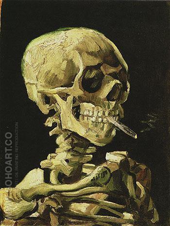 Skull of a Skeleton with Burning Cigarette winter c1885 - Vincent van Gogh reproduction oil painting