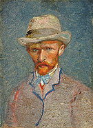 Self Portrait with Felt Hat 1887 - Vincent van Gogh reproduction oil painting