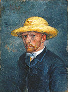 Self Portrait with Straw Hat 1887 - Vincent van Gogh reproduction oil painting