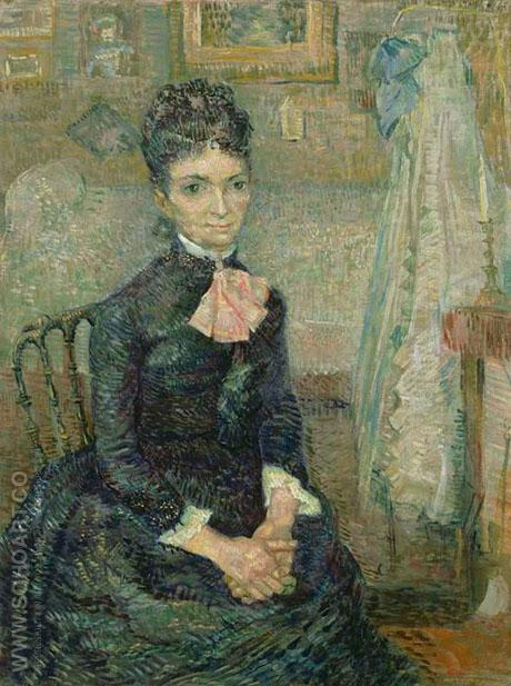 Mother by a Cradle Portrait of Leonie Rose Davy Charbuy 1887 - Vincent van Gogh reproduction oil painting