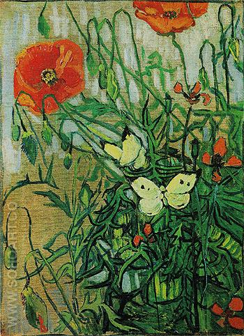 Butterflies and Poppies May 1890 - Vincent van Gogh reproduction oil painting