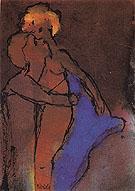 Reddish brown Couple Embracing - Emile Nolde