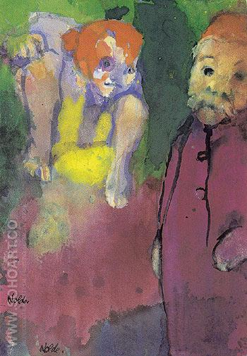 Old Man and Wood Gnome - Emile Nolde reproduction oil painting