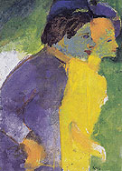 Couple Violet and Yellow - Emile Nolde reproduction oil painting