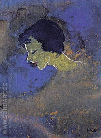 Young Woman in Profile - Emile Nolde reproduction oil painting