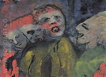 Grotesque Figures Red Yellow Green - Emile Nolde reproduction oil painting