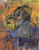 Two Bearded Old Men in Profile - Emile Nolde reproduction oil painting