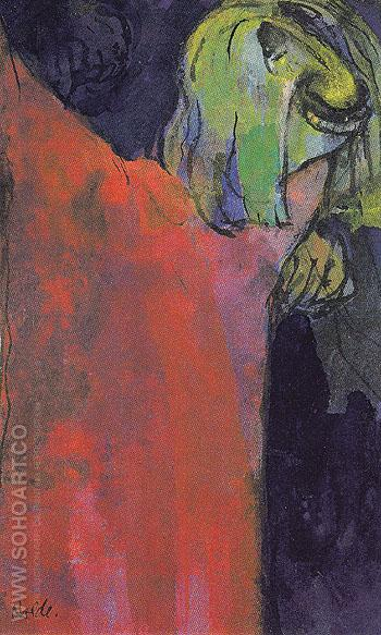 Green Head above Red Cloak - Emile Nolde reproduction oil painting