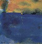 Blue Sea Sailboat and Two Steamships - Emile Nolde