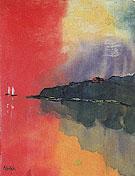 Seacoast Red Sky Two White Sails - Emile Nolde
