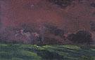 Green Sea under Reddish brown Sky Two Steamers - Emile Nolde